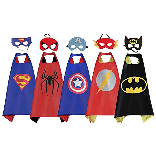 5Pk Superhero Dress Up Costume, Satin Capes and Masks Set For Boys and Girls