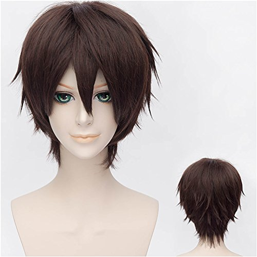 [Flovex Short Straight Brown Womens Anime Cosplay Wig Studio Deen Okita Souji Costume Party Daily Hair with Wig] (Okita Souji Cosplay Costume)