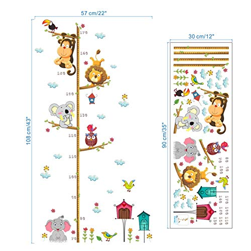 linshel Personality Wall Sticker DIY Owl Lion Monkey Height Measure Wall Stickers for Kids Rooms Decor Cartoon Animals Growth Chart Wall Decals PVC Poster ()