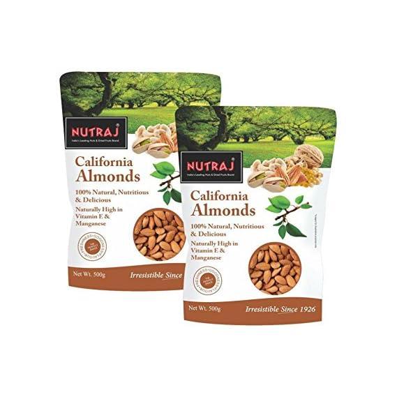 Nutraj California Almonds 1Kg (2 Packs of 500G Each)