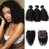 BIPLE 3 Boules Mèches Plus le Frontal Bresilienne Kinky Curly Cheveux Tissages Extensions Humains Hair 8""