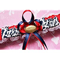 Customizable - New England Patriots fabric handmade into bridal prom white organza wedding garter set with football charm - word logo