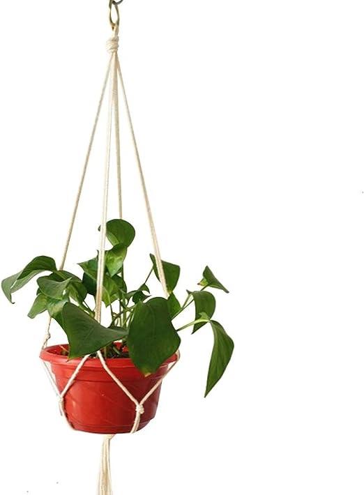 Colgador Para Plantas Macrame Soporte Para Macetas Colgador De Algodón, Cáñamo Hecho A Mano Colgante De Interior Eslinga De Red Colgante De Algodón Soportes De Macetas Para Techo De Casa Jardín: Amazon.es: