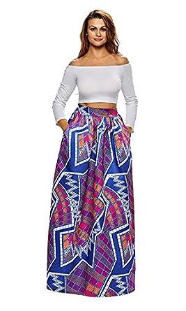 Novia's Choice Women African Floral Print Pleated High Waist Maxi