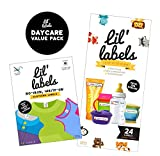 Lil' Labels Daycare Value Pack Write on Name Labels, Waterproof, Baby Bottle Labels (Animal Friends) & Clothing Labels, Plus 2 Bonus Gifts, BRIGHT WHITE