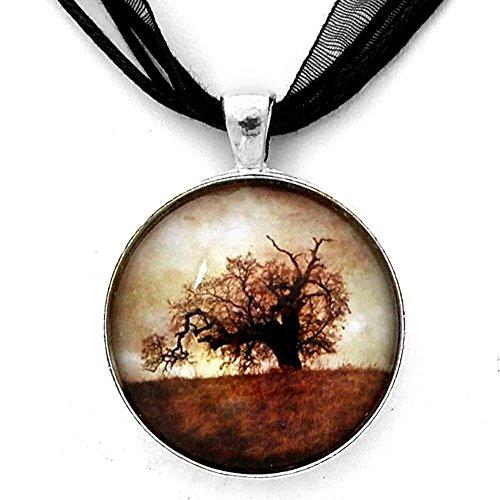 Palo Alto Oak Tree Sepia Handmade Jewelry Photo Pendant (Black Ribbon - Palo Alto Stanford