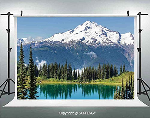 Photo Backdrop Lake and Snowy Glacier Peak in Washington USA Tall Pine Tree Forest 3D Backdrops for Interior Decoration Photo Studio Props ()