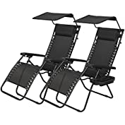 Wakoola New 2 PCS Zero Gravity Chair Lounge Patio Chairs with canopy Cup Holder HO74