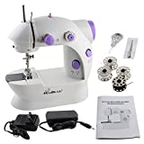 Arts & Crafts : HAITRAL Sewing Machine Mini 2-Speed Double Thread, Double Speed, Portable Sewing Machine With Light and Cutter,White /Purple