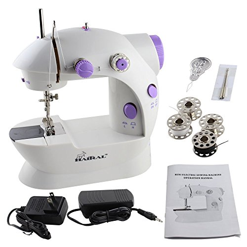 HAITRAL Sewing Machine Mini 2-Speed Double Thread, Double Speed, Portable Sewing Machine With Light and Cutter,White /Purple (Case Threading Bobbin)