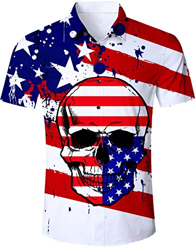 TUONROAD Tropical Beach Theme Authentic Hawaiian Island Shirt US Flag Graffiti Paint Skull Red White Navy Naughty Prints Short Sleeve Shirt Birthday Button Down Shirt for Men