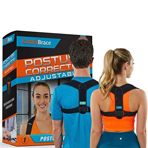 Comfy Brace Posture Corrector-Back Brace for Men and Women- Fully Adjustable Straightener for Mid, Upper Spine Support…