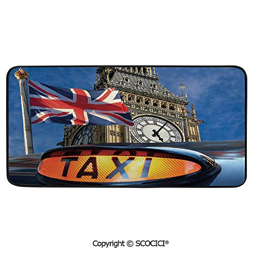 Rectangular Area Rug Super Soft Living Room Bedroom Carpet Rectangle Mat, Black Edging, Washable,Union Jack,Union Jack Flagon Pole and Big Ben Taxi Cab Urban - Cabelas Jack