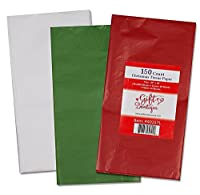 110 Christmas Tissue Paper Assortment; 40 Red 40 Green & 30 White; 20 X 20