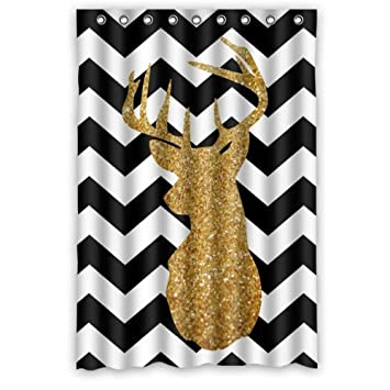 black white chevron shower curtain. 48 quot Width  x 72 Height Gold Glitter Deer Head in Click to open expanded view Chevron Shower curtain Amazon com
