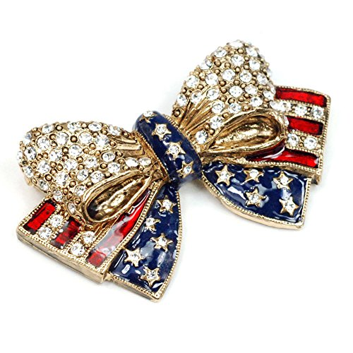 - Sweet Romance Patriotic USA American Flag Stars and Stripes Bow Pin - United States of America Veterans Brooch