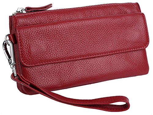 Red Smartphone Women's Wine RFID with Wristlet Leather Card Crossbody Slots Yaluxe Clutch Blocking n7xSwS