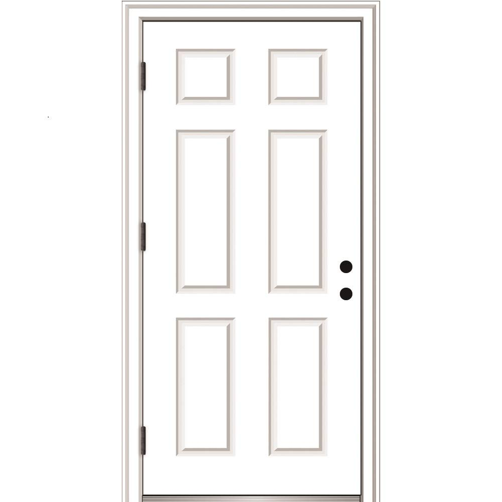 National Door Company ZZ364680R Fiberglass Smooth, Primed, Right Hand Outswing, Prehung Front Door, 6-Panel, 36'' x 80