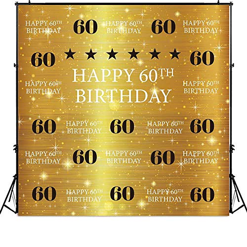 Funnytree 6x6ft Gold 60th Birthday Photography Backdrop Adult Step and Repeat Golden Glitter Shiny Background Sixty Years Old Age Party Decoration Photo Banner Photobooth Props]()