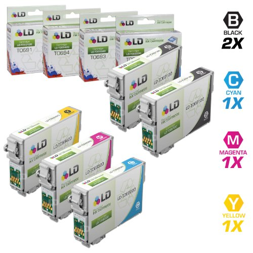 LD Remanufactured Ink Cartridge Replacements for Epson 69 (2 Black, 1 Cyan, 1 Magenta, 1 Yellow, 5-Pack)