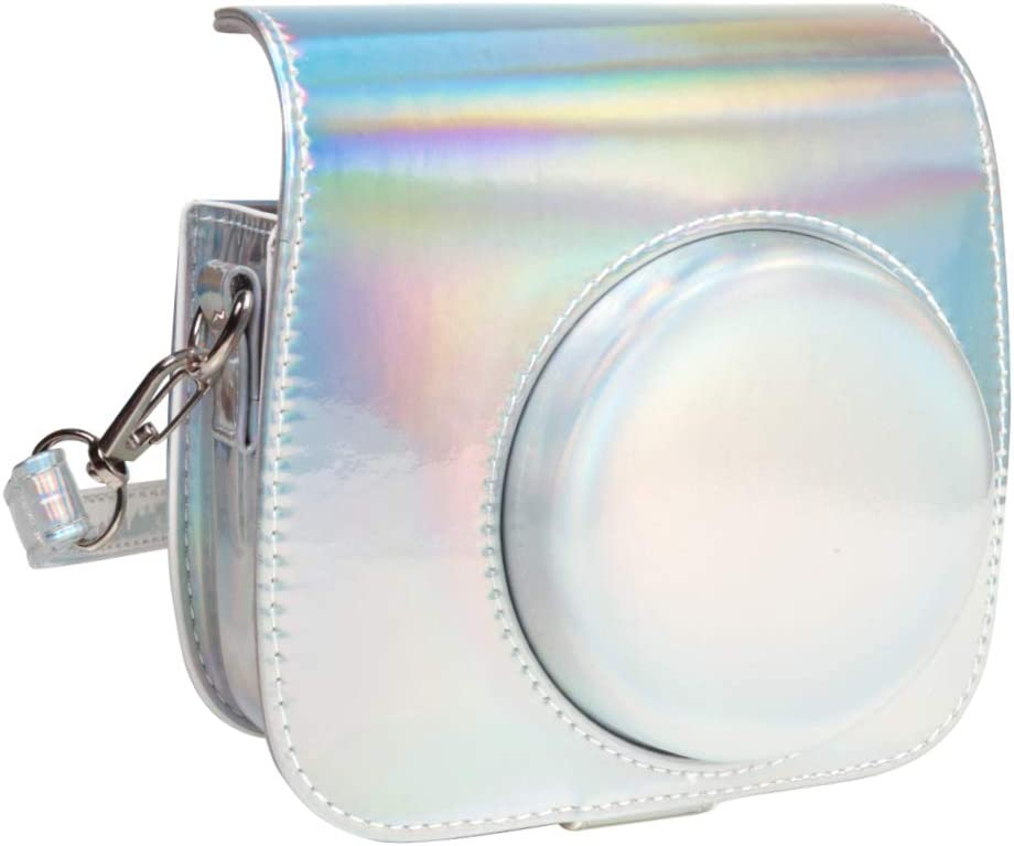 Queen3C Aurora Silver Mini 9 Camera Case Bag for Fujifilm Instax Mini 9 Mini8 Mini8+ Instant Camera, Soft PU Leather Bag with Removable Adjustable Shoulder Strap. (Case Bag, Aurora Silver)