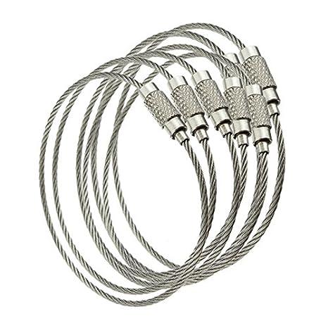 Binchil Llavero de cuerda de alambre con tapa de rosca (10 ...