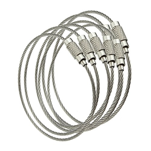 TOOGOO Wire Rope Keyring with Twist Lock (10 Pieces)