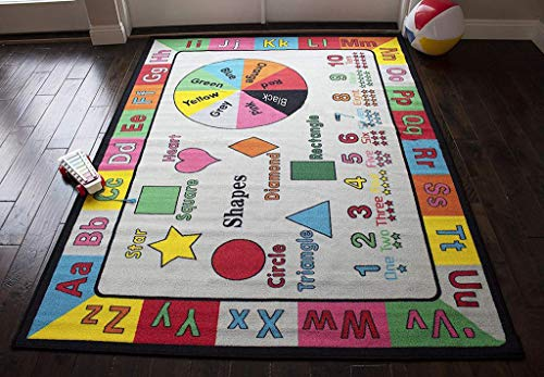 LA School Education Tool Alphabetical Shape Mathematics and Numbers 8-Feet-by-10-Feet Polyester Made Boys Girls Area Rug Carpet Rug Multicolor