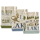 DII 100% Cotton Machine Washable 15x15.5x4.25 Heavy Duty Canvas Reusable Tote Bag for Grocery Shopping, Book and Stationary Set of 3-Lake House