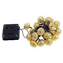 xlpace New 3.2M Moroccan Solar 20LED String Lanterns Christmas Xmas LED Garden Balls Fairy Lights