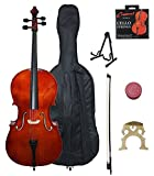 Crescent 4/4 Beginner Cello Starter Kit - Natural Wood Color (Bag, Bow, Accessories Included)