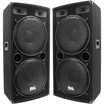 concert speakers. seismic audio - pair of dual 15\ concert speakers l