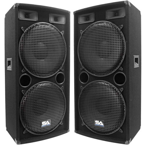 Seismic Audio - Pair of Dual 15'' PA DJ SPEAKERS 1000 Watts PRO AUDIO - Band, Bar, Wedding, Church by Seismic Audio