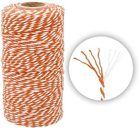 100M Arancione e Bianco Cordoncino in Cotone Spago in Cotone Baker Twine Cordoncino Natalizio Cordoncino da Regalo da 2 mm per Cucina Cottura Confezionamento Natalizio Regali e fai da te Creativo