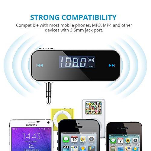 durable service TOPELEK Transmetteur FM de Voiture sans Fil avec Affichage LCD 3.5mm Audio pour iPhone 8, 5s 5c 4s 4, Samsung Galaxy, Huawei, Wiko et d'Autres Téléphones Intelligents, Lecteur MP3 --Noir