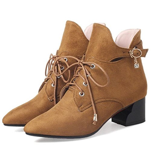 Ankle KemeKiss Yellow Brown Warm Retro Booties Heel Winter Toe Women Mid Pointed nSZSxwr8vq