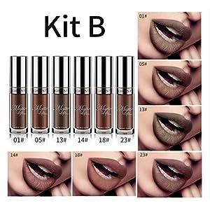 ELINKMALL 6pcs Nude Colors Matte Lipstick Waterproof Lasting Non-marking Lip Gloss Christmas Lipgloss Set (#2)