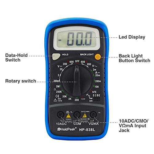 HOLDPEAK 838L Manual-Ranging Digital Multimeter for Measuring AC DC Voltage, DC Current, Resistance, Diodes, Transistors, Temperatures with Non Contact Voltage Test