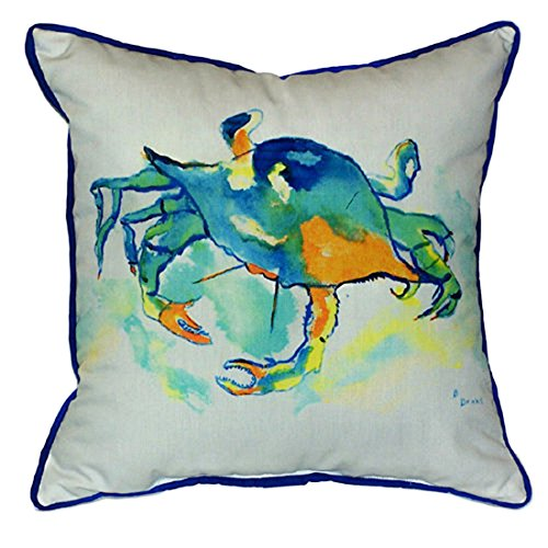 Betsy Drake Orange Crab Extra Large 22 X 22 Indoor / Outdoor White Pillow price