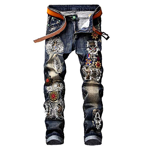 Overalls Embroidered Blue - Telent High-Qality Men's Fashion Paint Embroidered Jeans, Shredded Denim Slim Straight Sports Knight Upgrade Jeans. … (Dark Blue, 34)
