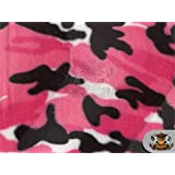 "Velboa Faux Fur Fabric CAMOUFLAGE PINK/ 60"" Wide / Sold by the yard"