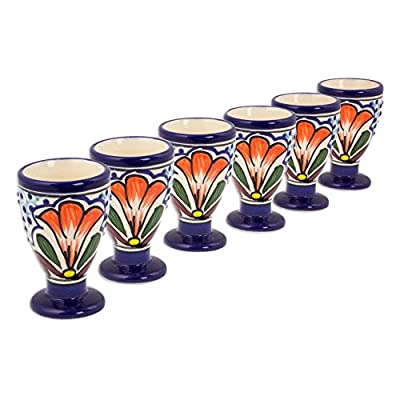 NOVICA Hand Painted Blue and White Colorful Floral Talavera Ceramic Cordial Glasses, 2 oz. 'Radiant Flowers' (set of 6)
