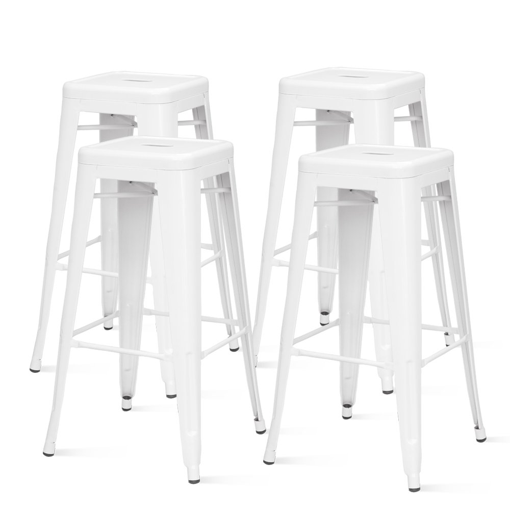Metropolis Metal Backless Counter Stool 26 ,Indoor Outdoor Ready,White,Set of 4