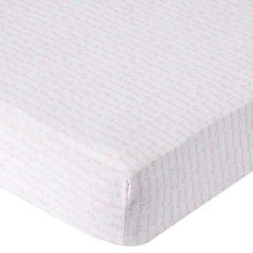 Babies R Us Knit Crib Sheet - Pink Script by Babies R Us [並行輸入品]   B015RY6J3A