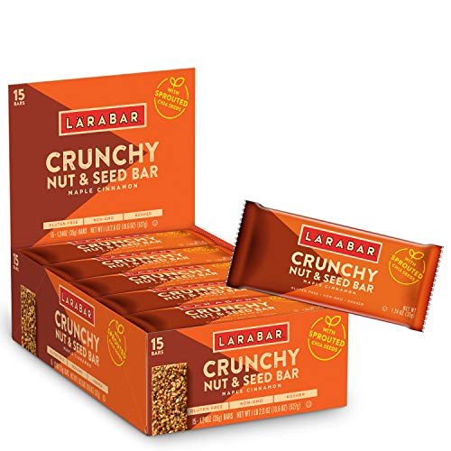 - Larabar Crunchy Nut & Seed Gluten Free Bar, Maple Cinnamon with Sprouted Chia Seeds, 1.24 oz Bars (15 Count), Whole Food Bars