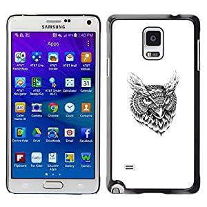 All Phone Most Case / Oferta Especial Duro Teléfono Inteligente PC Cáscara Funda Cubierta de proteccion Caso / Hard Case Samsung Galaxy Note 4 // Tribal Tattoo Pattern Owl