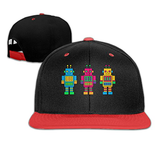 children-robot-toy-clipart-adjustable-snapback-baseball-hat-red
