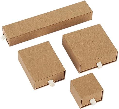 chunnron cajitas de Carton para Regalos Caja de Regalo Pulsera Almacenamiento de joyería y bisutería Marrón Caja de Anillo Joyas Caja de Set: Amazon.es: Hogar