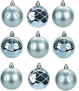 TOYLAND® Pack de 9 - Bolas 6 cm de Color Azul Hielo para árboles ...