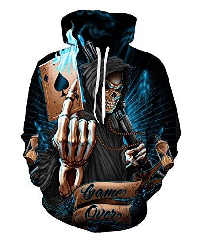 Men Hoodie Diamonds Skull Print Tumblr Pullovers Sweatshirt Hooded